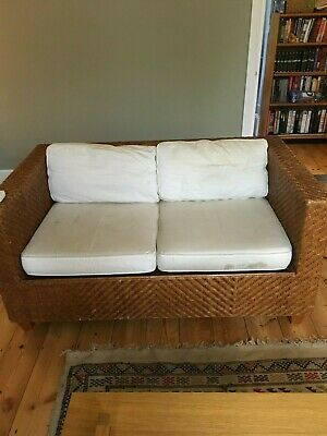 Heal's wicker Art Deco love seat and armchair (year 2000)