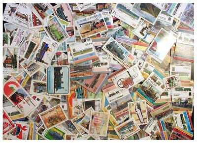 Trains on Stamps Collection - 500 Different Stamps, All Large