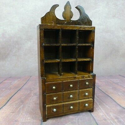 Vintage Wood Dollhouse Furniture Dining Room China Hutch Cabinet Buffet Dresser