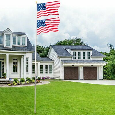 20 FT Heavy Duty Flag Pole Inground Residential Flagpole Kit &US American Flag 2