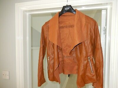 Ladies Tan Light Weight Faux Leather Jacket Size M