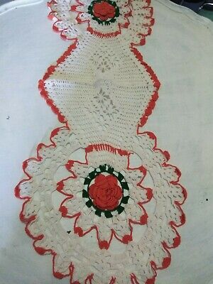 Vintage Orange and White Raised Roses Table Runner 3D Hand Crocheted Tablecloth