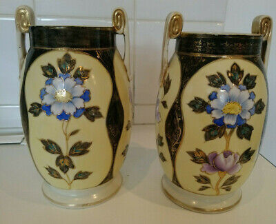 Beautiful Pair Of Art Nouveau Style  Noritake Floral Vases Height 7inches