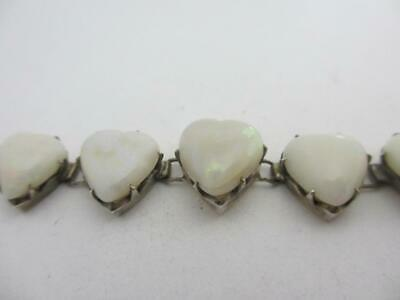 ANTIQUE EDWARDIAN c1910 9ct sterling silver heart shaped firey opal BRACELET k44