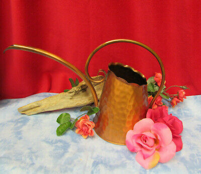 Vtg Hammered Gregorian Solid Copper Flower Watering Can Scroll Handle USA 28 Oz.