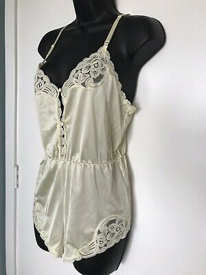 Vintage 80s Teddy Sheer Nylon Romper Yellow Floral Lace Size S Vanity Fair USA