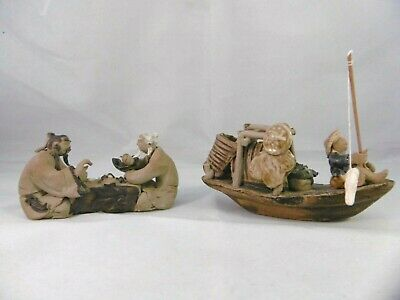 2 vintage Chinese figurines, fisherman & chess players Stunning handmade detail