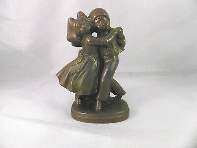 """Antique French bronzed Spelter dancing couple figurine.  3 3/4"""" tall """"April"""""""