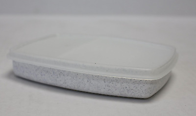 Tupperware Slim Packette Divided Side by Side Lunch Container Speckled White New