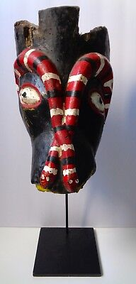 Old Guatemalan Mask, With Snakes, Includes Stand
