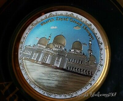 ABU DHABI SHEIKH ZAYED GRAND MOSQUE 24k GOLD Plate Metal Souvenir U.A.E. NEW UAE