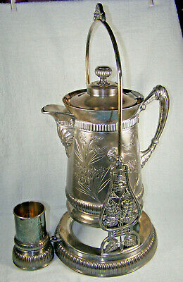 19thc American Spoon Carved Silver Plate Tilting / Tipping Pitcher, Stand & Cup