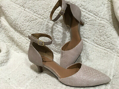 e32bdaef4e2c7 CLARKS ARTISAN PASTINA Lima Ankle Strap Heels Perforated Gray Taupe ...