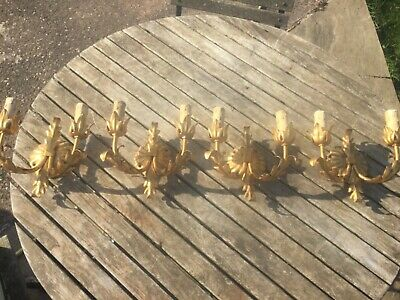 4 x Antique gold gilt metal foliage double wall light sconces Fabbrica Lampadari