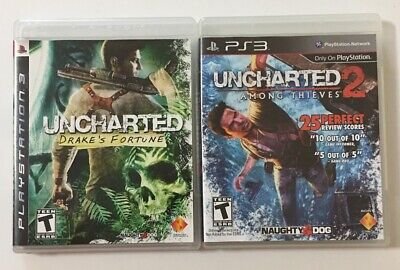 Lot Of 2 PS3 Uncharted Games - Uncharted: 1 Drake's Fortune & 2 Among Thieves