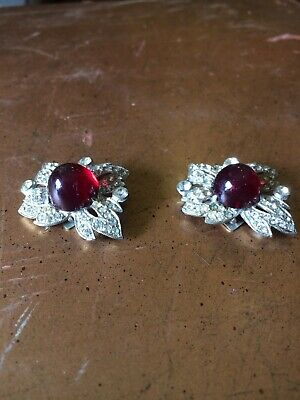 Antique Vintage Art Deco Red Rhinestone Shoe Clips