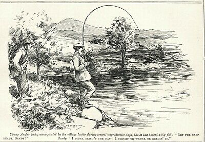 "RARE PUNCH 1912 CARTOON - FISHING / ANGLING HUMOR - ""Get a Gaff Ready"""