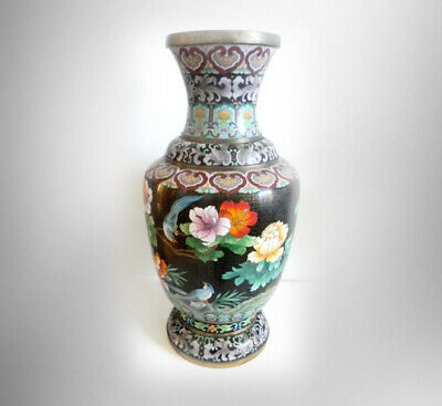 """Vintage large 26 """" TALL oriental brass cloisonne vase with floral and birds"""