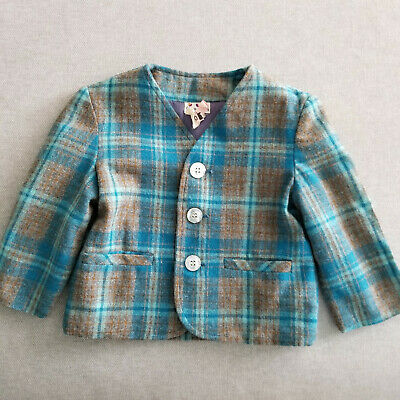 Vintage Boy's 2T Tweed Plaid Blazer Jacket Teal Brown Young Mate MCM 50s