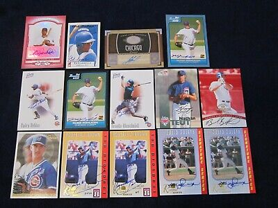 14 Card Lot Former CHICAGO CUBS Game Used JERSEY Swatch & Autographs Autos