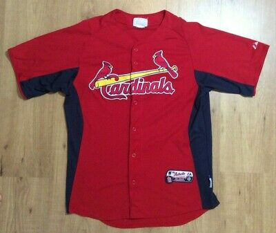 Majestic St. Louis Cardinals MENS Red MLB Cool Base Button Jersey ShirT Sz Small