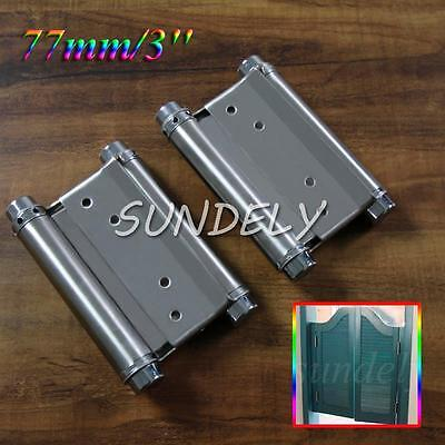 2Pcs 3'' Cafe Saloon Door Swing Self Closing Double Action Spring Hinge New!