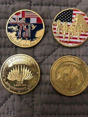 D DAY Normandy 75th Anniversary Coin From Normandy Beach Museum Store Set 2 REAL