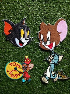 Lot of 4 Tom&Jerry Cartoon Character Embroidered Craft Patch Iron on