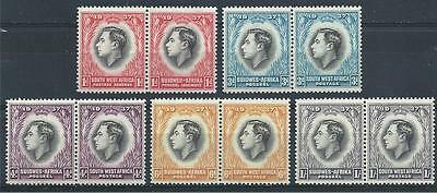 South & Soud West Africa 1937 Sc# 126/32 George VI Coronation 5 pairs  MNH