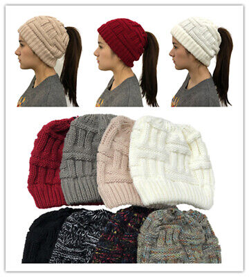 Fashion SALE Women Tail Messy Soft Beanie Bun Hat Ponytail Stretchy Cap