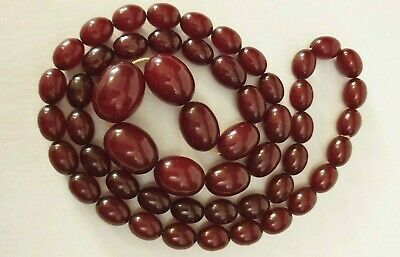Antique FULLY TESTED Faturan cherry amber bakelite beads necklace, 111g 94cm!