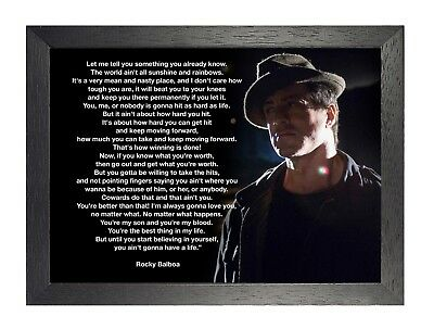 Rocky Balboa 18 Sylvester Stallone Poster Motivational inspiration Quote Picture