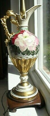 Royal Vienna Style Porcelain Gold, Pink and Red Roses Decorated Electric Lamp