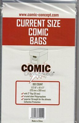 100 x Current/Modern Age Comic Concept Backing Boards and Bags