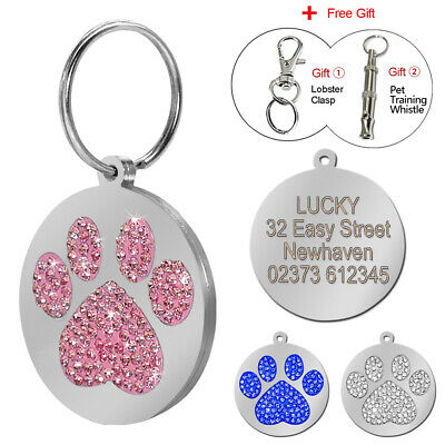 Bling Rhinestone Personalised Dog Tag Disc Disk Pet Cat Name ID Tag Paw Glitter