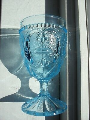Antique Blue Jeweled Heart Pattern EAPG  Goblet Dugan 1905 or L. G. Wright