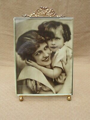 Antique French Large Bronze Photo Frame Louis Xvi Style Beveled Glass 10.8' Tall