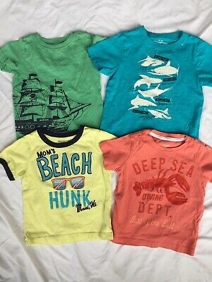 Lot of 4 CARTER'S OSH KOSH Baby Boy Summer Short Sleeve Shirts Size 18 MOS