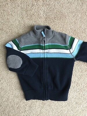 CHEROKEE Baby Boy Zipper Striped Cotton Winter Sweater Size 18 Mos