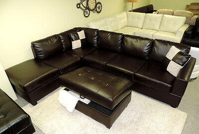 MODERN CONTEMPORARY ESPRESSO Brown Leather sectional sofa ...