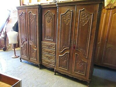 Top quality Huge 5 door French carved oak Louis armoire,wardrobe,Flat packs