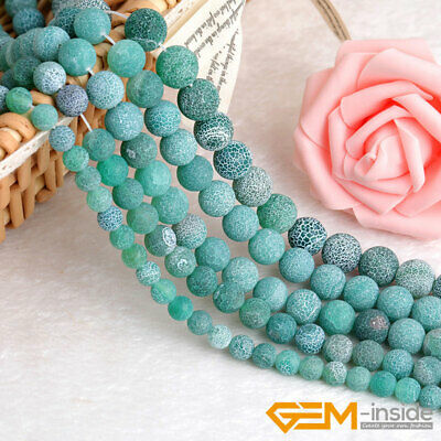 """Green Agate Natural Frost Matt Gemstone Round Beads for Jewelry Making 15"""""""