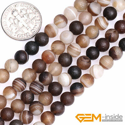 """Natural Banded Gray Agate Gemstone Matt Loose Beads for Jewelry Making 15"""" YB"""