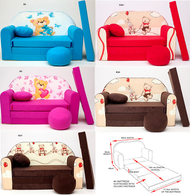 Kids Sofa Bed Sleepover Futon  Cotton Cover With Footstool And Cushion Teddy
