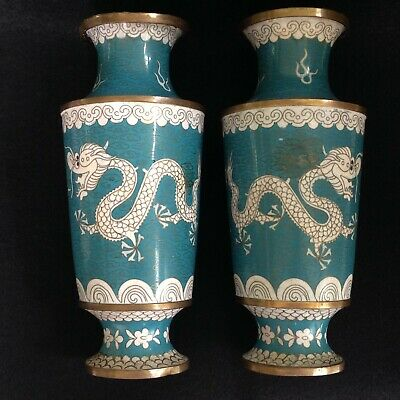 """Antique or Vintage 9"""" Chinese Cloisonne Pair Vases Imperial Dragon Flaming Pearl"""