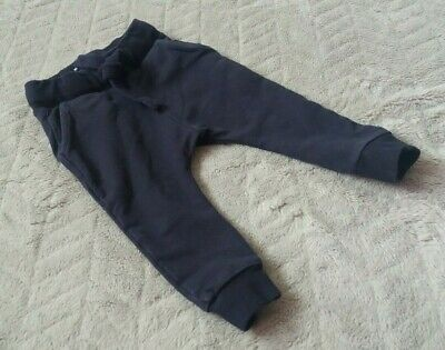 Baby Boys 95% Cotton Navy Blue Joggers Jogging Pants (12-18 Months) - By Next
