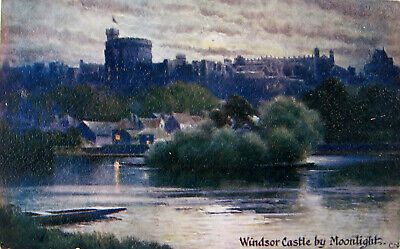 Early Colour Postcard. Windsor Castle, by moonlight.