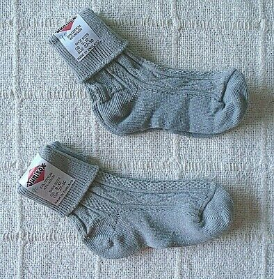 2 Pairs Vintage  Stretch Cotton/Nylon Sox - 9-12 Shoe - Grey Ankle - New