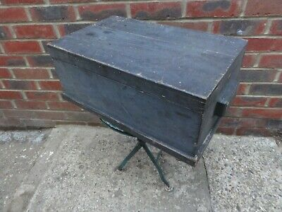 VINTAGE Small Wooden Chest Trunk ~ Storage Box Seating ~ Tool Box