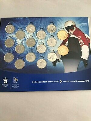 Canada 2010 Vancouver Olympics Bu Unc Coin Set Display Complete 17 Coins